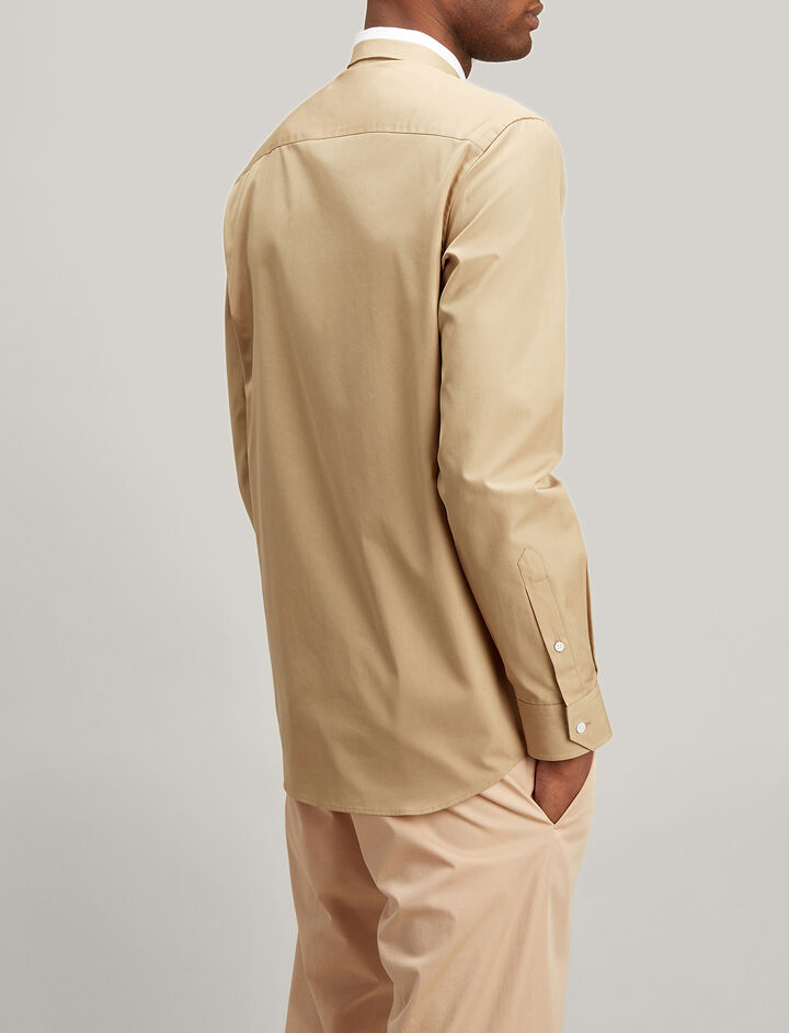 Bi Colour Poplin John Shirt, in BEIGE, large | on Joseph