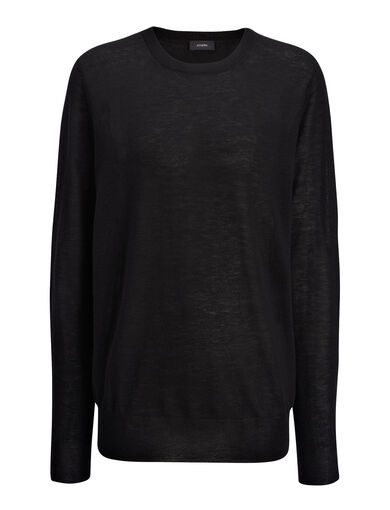 Cashair and Patch Sweater, in BLACK, large | on Joseph