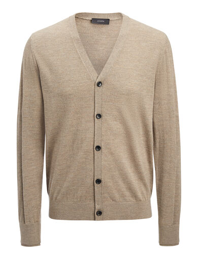 Merinos + Rib Patch Cardigan, in SAND, large | on Joseph
