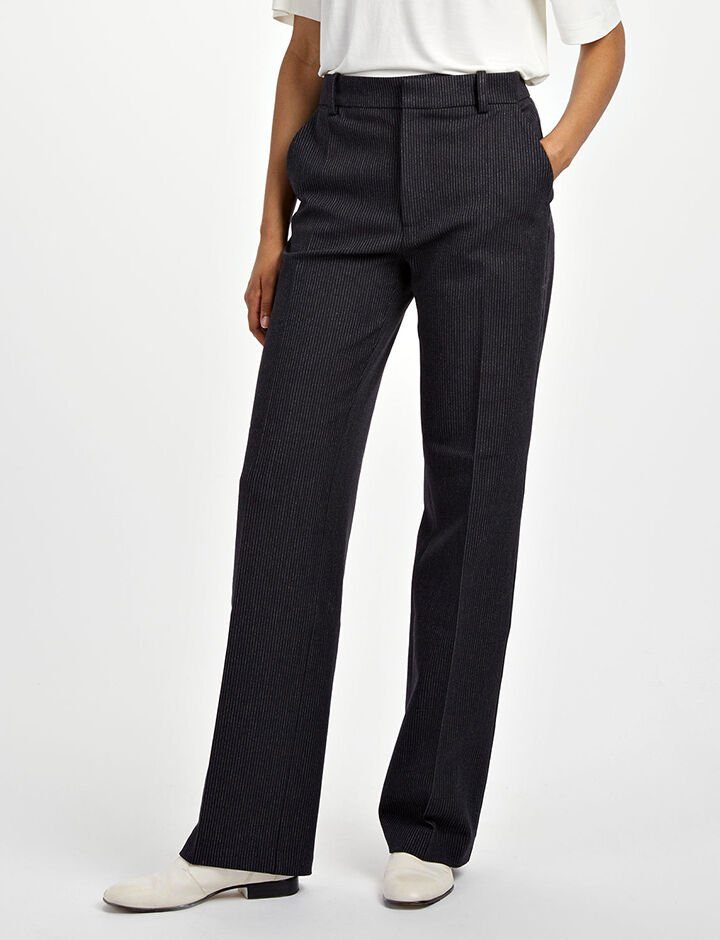 Gab Stretch Pinstripe Ferdy Trousers, in NAVY, large | on Joseph