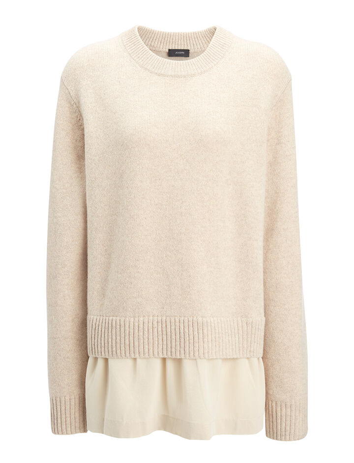 Wool Cashmere + Crepe de Chine Sweater, in SAND, large | on Joseph