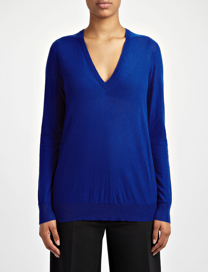 Cashair V Neck Sweater, in SAPHIRE, large | on Joseph