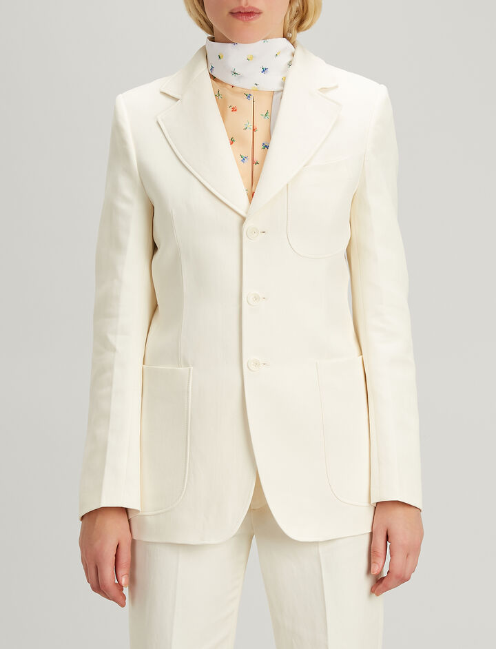 Ramie Cotton Genova Blazer, in ECRU, large | on Joseph