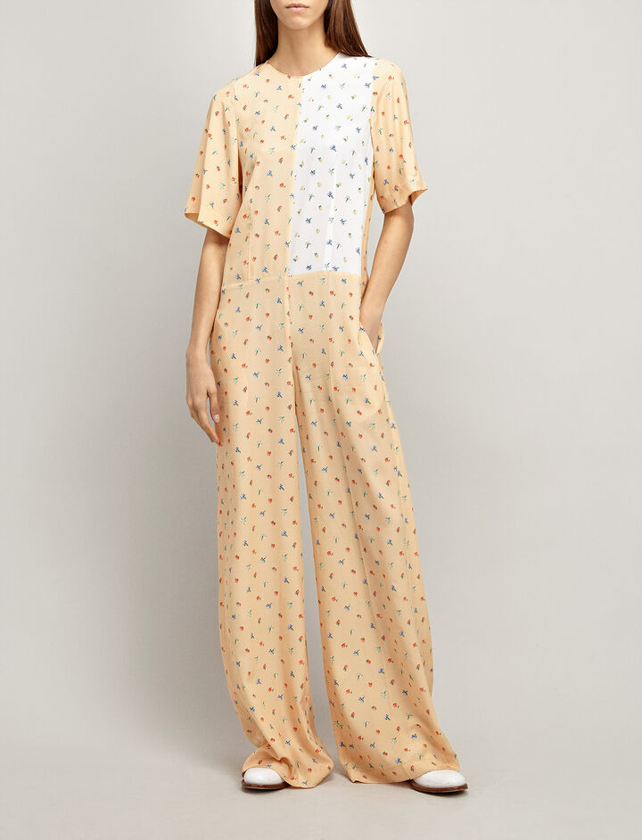 Spring Bud Print James Jumpsuit, in PINK COMBO, large | on Joseph