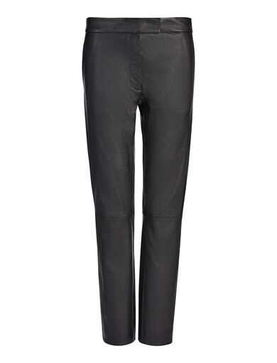 Leather Stretch Finley Trouser, in BLACK, large | on Joseph