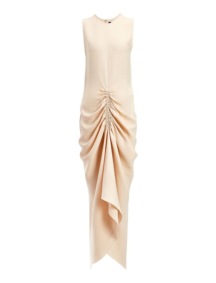 Crepe Silk Zadie Dress, in CUSTARD, large | on Joseph