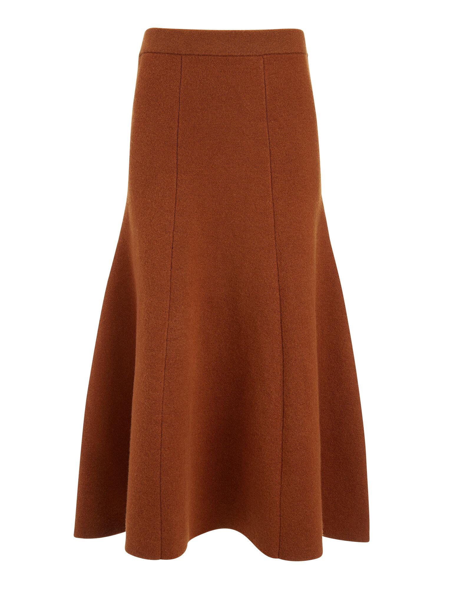 Soft Wool Skirt, in RUST, large   on Joseph