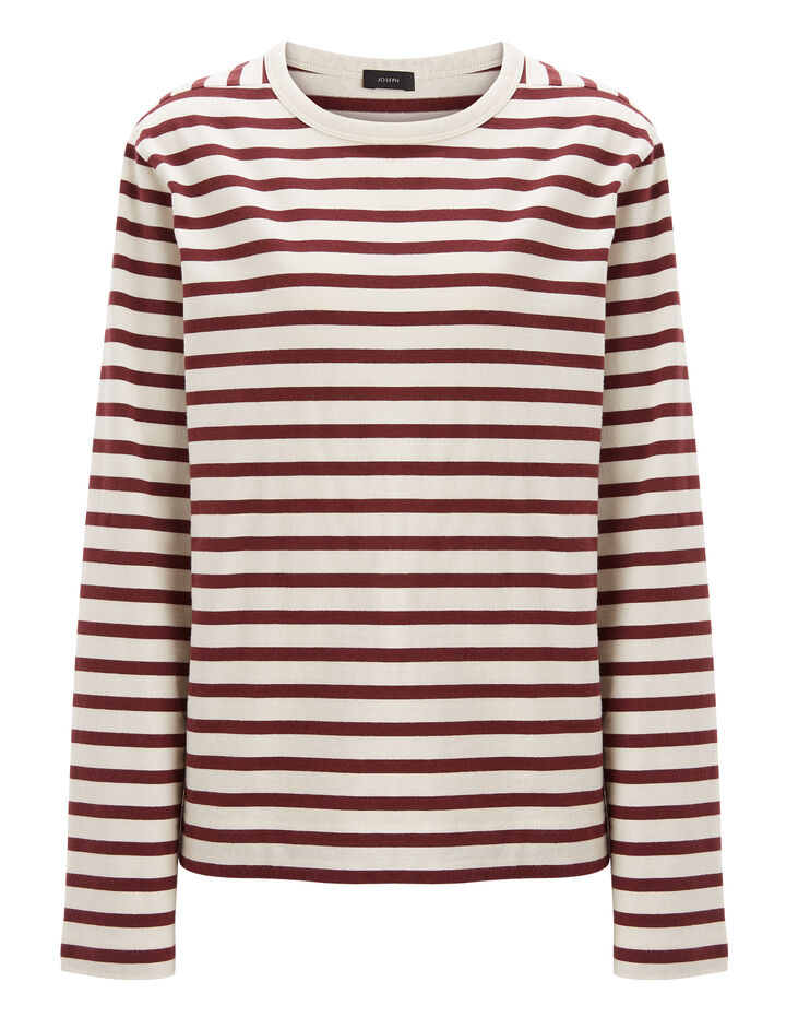Joseph, Breton Stripe Long Sleeve Tee, in MORGON