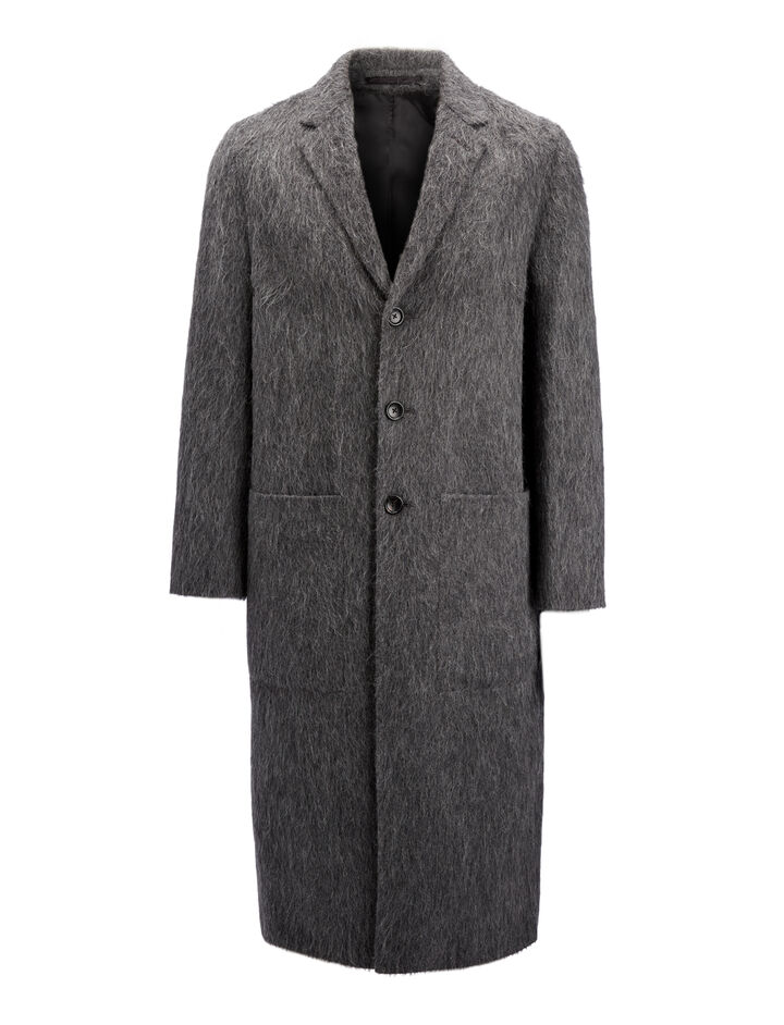 Double Alpaca Kinsford Coat, in GRAPHITE, large | on Joseph