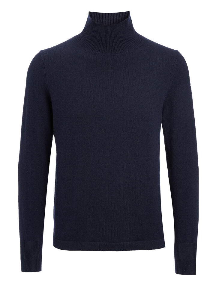 Mongolian Cashmere Roll Neck Sweater, in NAVY, large | on Joseph