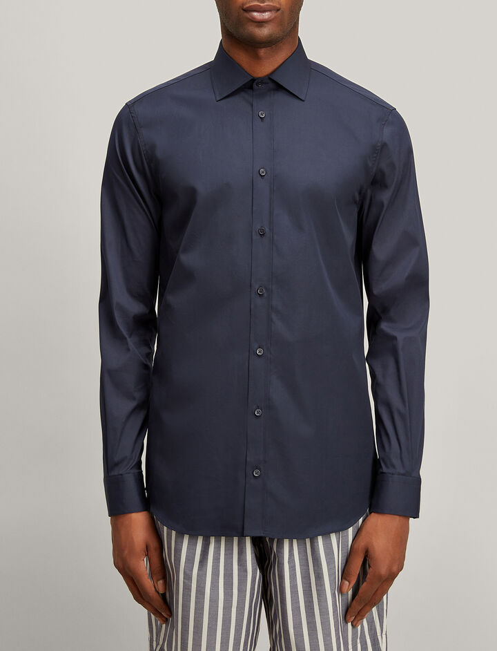 Joseph, Poplin + Poplin Stretch Cecile Shirt, in NAVY