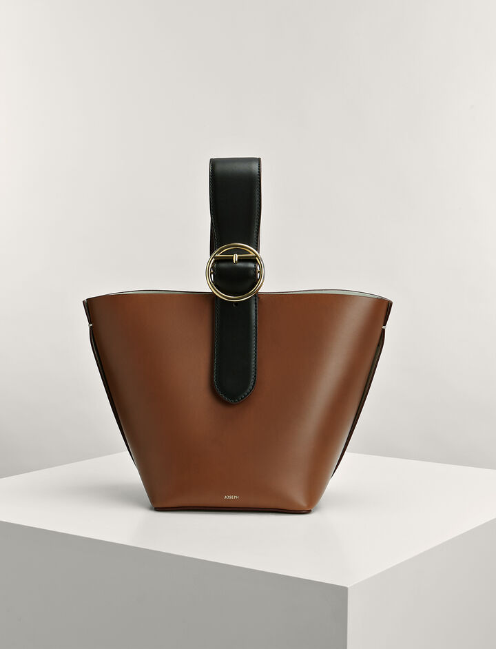 Calf-Leather Small Sevres Bucket-Bag, in SADDLE, large | on Joseph