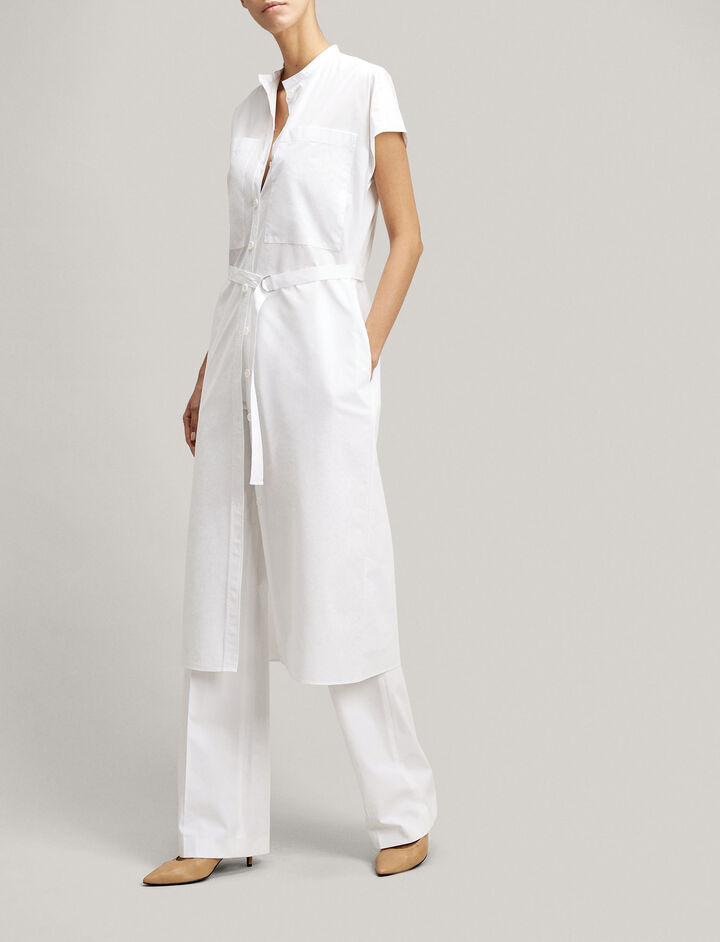 Cotton Poplin Issac Dress, in WHITE, large | on Joseph