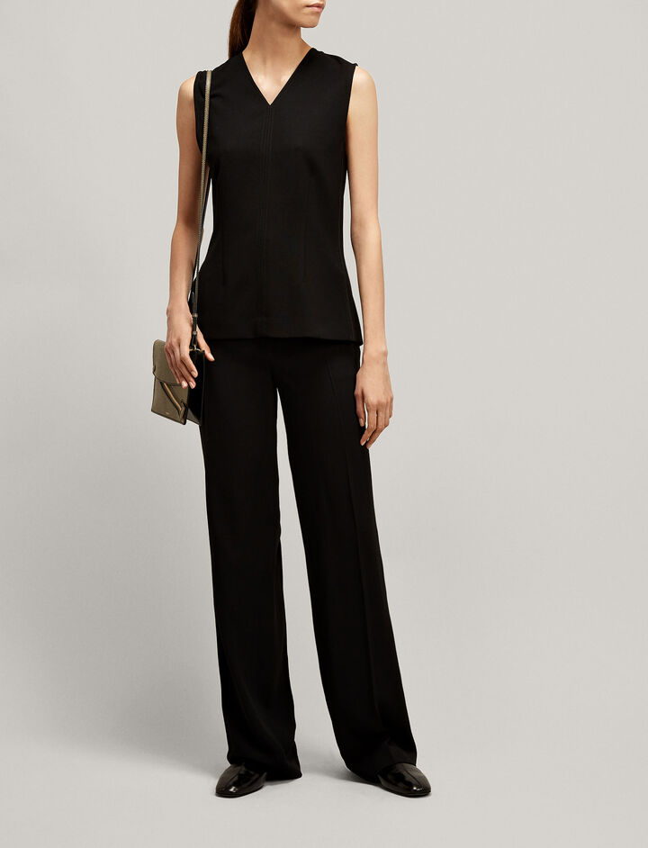 Joseph, New Ferdy Crepe Satin Trousers, in BLACK