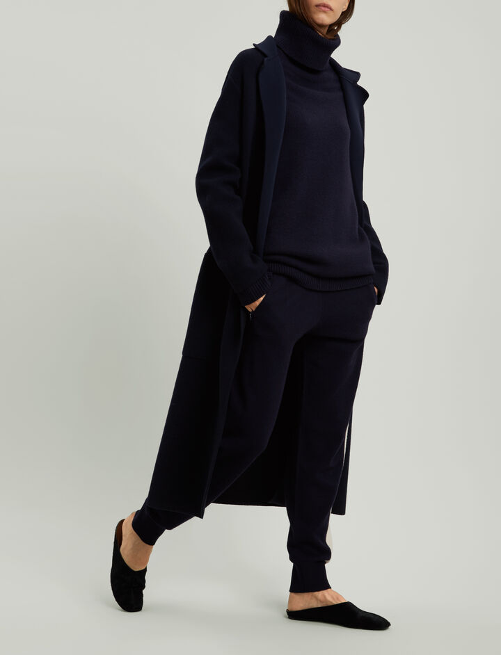 Joseph, Double Face Knit Coat, in NAVY