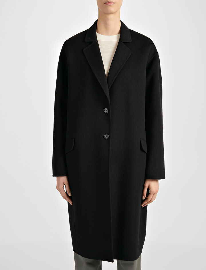 Light Double Cashmere Sido Coat, in BLACK, large | on Joseph