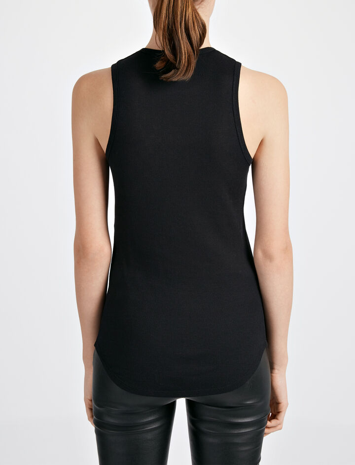 Cotton Cashmere Rib Tank, in BLACK, large | on Joseph