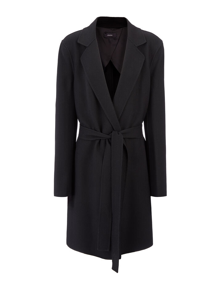 Manteau Kido court en suiting double face , in BLACK, large | on Joseph