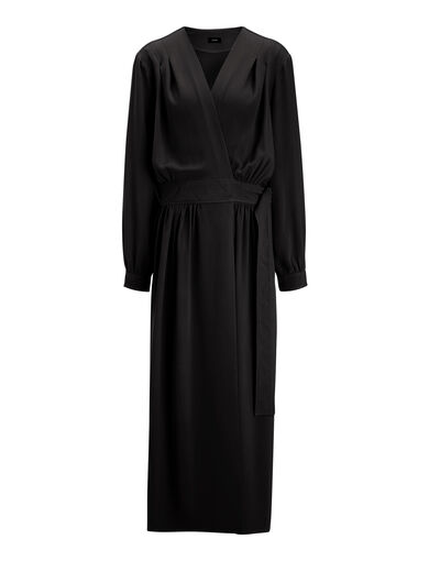 Viscose Cady Mati Dress, in BLACK, large | on Joseph