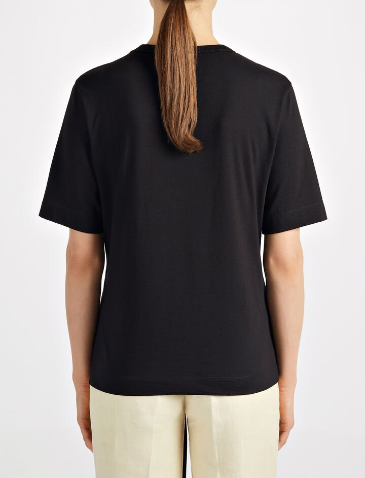 Eyelet Jersey Tee, in BLACK, large | on Joseph