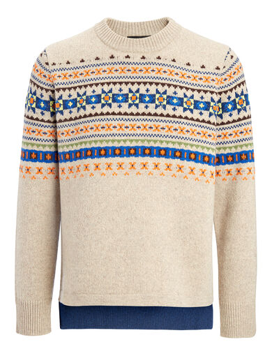 Fair Isle Knit Sweater, in BEIGE, large | on Joseph