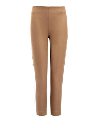 Gabardine Stretch New Tony Cropped Trousers, in DARK FAWN, large | on Joseph