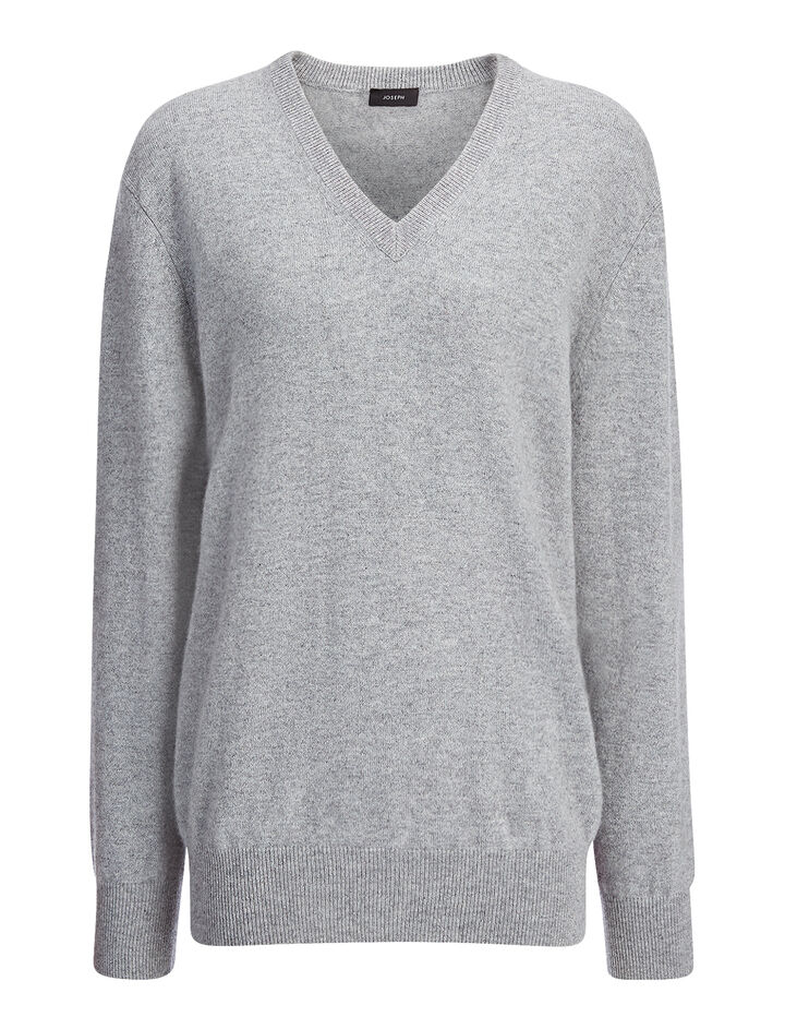 Cashmere 12gg V Neck Sweater, in MARBLE, large | on Joseph