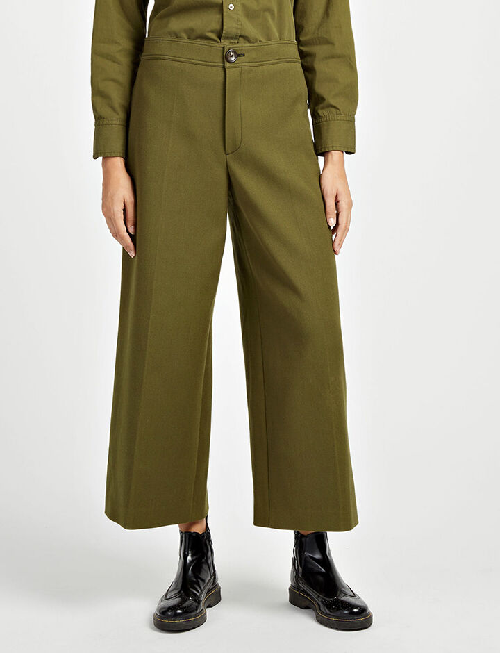 Cotton Wool Twill Fitz Trousers, in ARMY, large | on Joseph