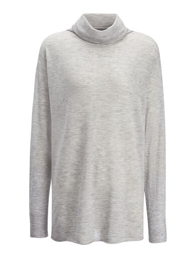 Cashair High Neck Oversized Sweater, in CONCRETE, large | on Joseph
