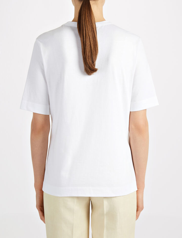Eyelet Jersey Tee, in WHITE, large | on Joseph
