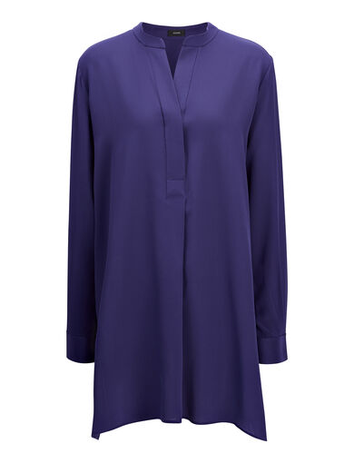 Crepe de Chine New Dara Blouse, in MARINE, large | on Joseph