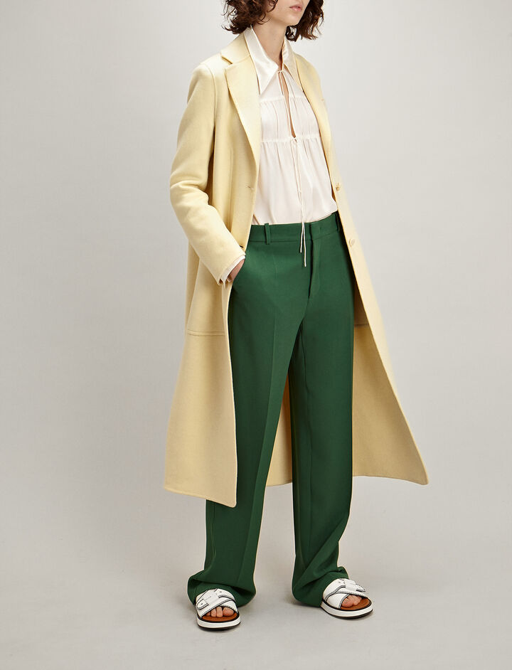 Double Wool-Silk Marvil Coat, in CUSTARD, large | on Joseph