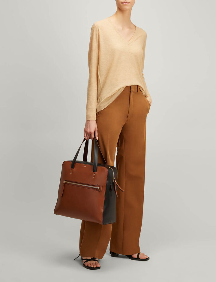 Joseph, Cashair V Neck Sweater, in CAMEL