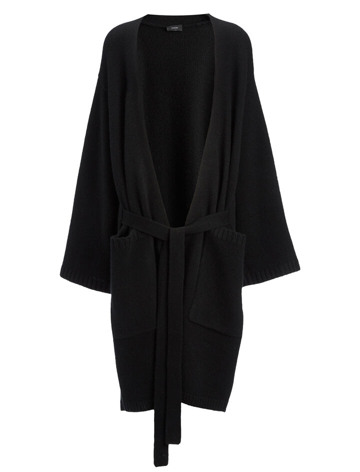 Cashmere Luxe Long Cardigan, in BLACK, large | on Joseph