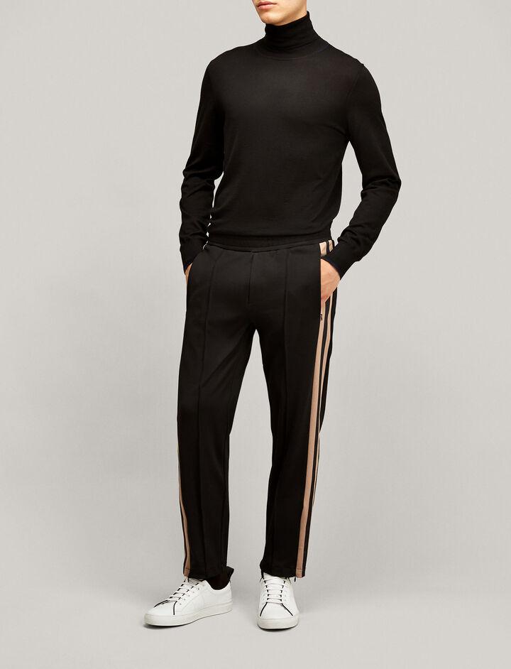 Joseph, Roll Neck Light Merinos Knit, in BLACK