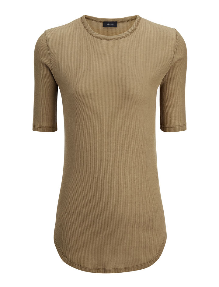 Cotton Cashmere Rib Tee, in ARMY, large | on Joseph