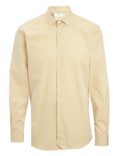 Retro Stripe John Shirt, in MUSTARD, large | on Joseph