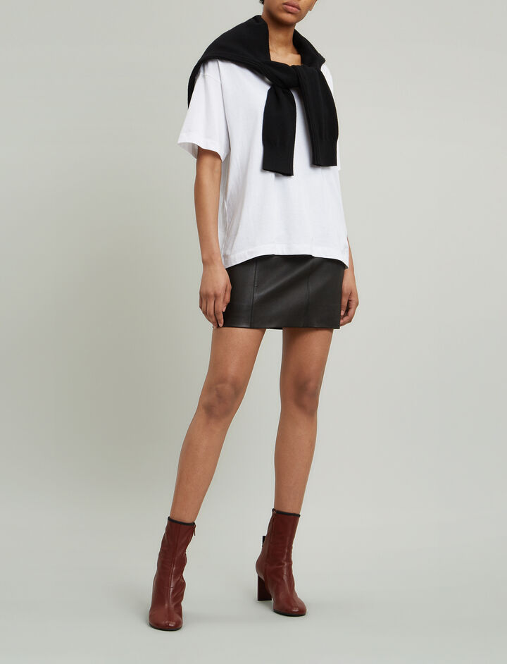 Joseph, Holt Stretch Leather Skirt, in BLACK