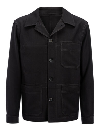 Washed Flannel Abbots Jacket, in BLACK, large | on Joseph