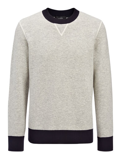 Bonded Cashmere Sweatshirt, in GREY CHINE, large | on Joseph