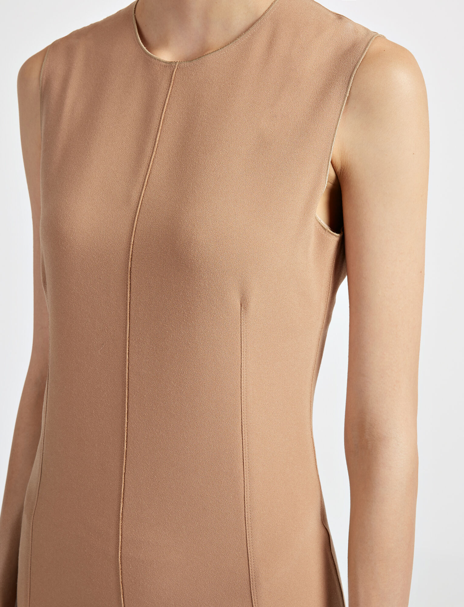 Crepe Stretch Sadie Dress, in CAMEL, large | on Joseph