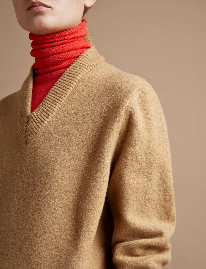 Joseph, V + High Neck Double Knit, in CAMEL