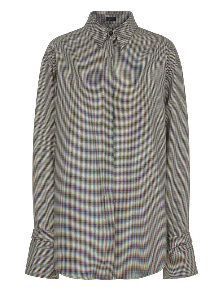 Joseph, Renne Mini Dogtooth Suiting Blouse, in BEIGE