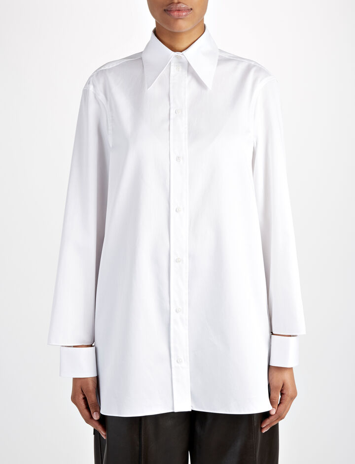 Crinkle Cotton Mora Blouse, in WHITE, large | on Joseph
