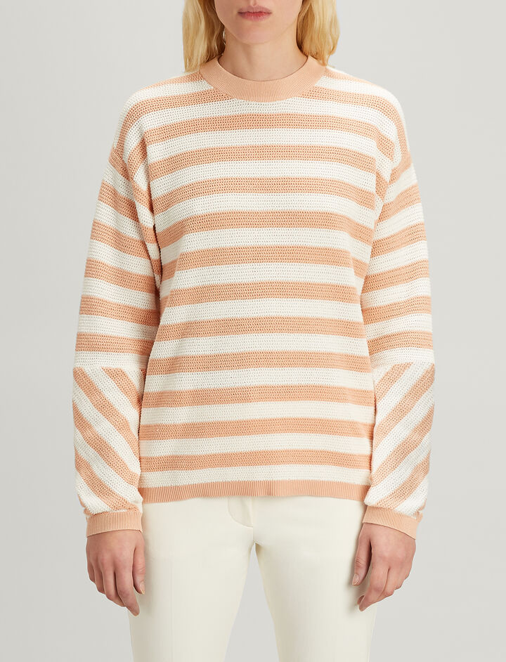 Joseph, Cotton pique Srtipe Long Sleeve Sweater, in CERAMIC