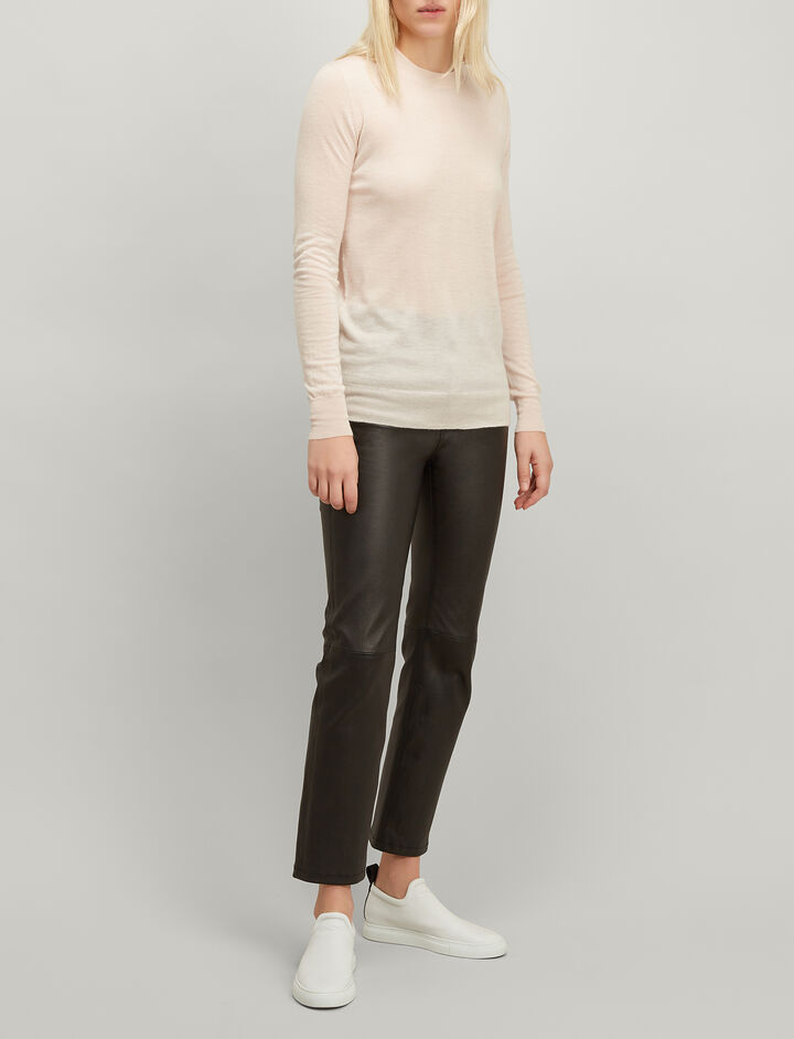 Joseph, Cashair Round Neck Sweater, in PEARL