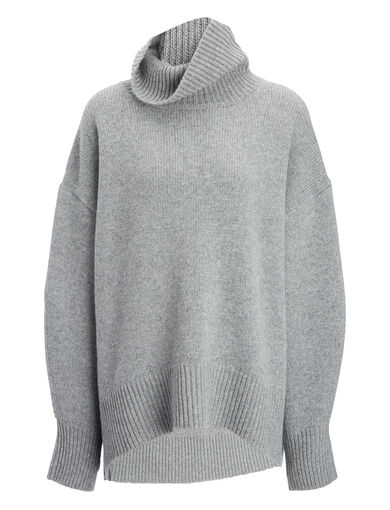 Cashmere Luxe High Neck Sweater, in CONCRETE, large | on Joseph