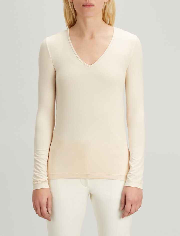 Stretch Jersey V Neck Tee, in PEARL, large | on Joseph