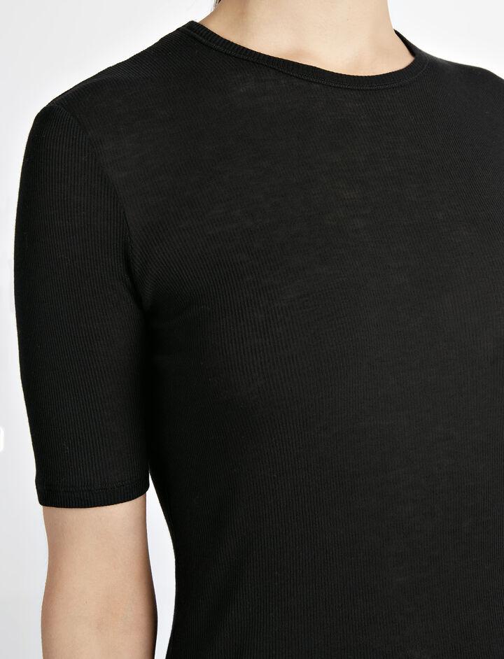 Cotton Cashmere Rib Tee, in BLACK, large   on Joseph