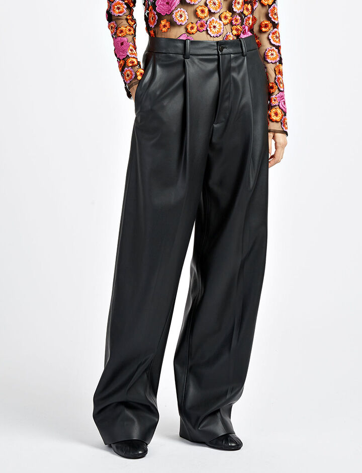 Real Fake Leather Riska Trousers, in BLACK, large | on Joseph